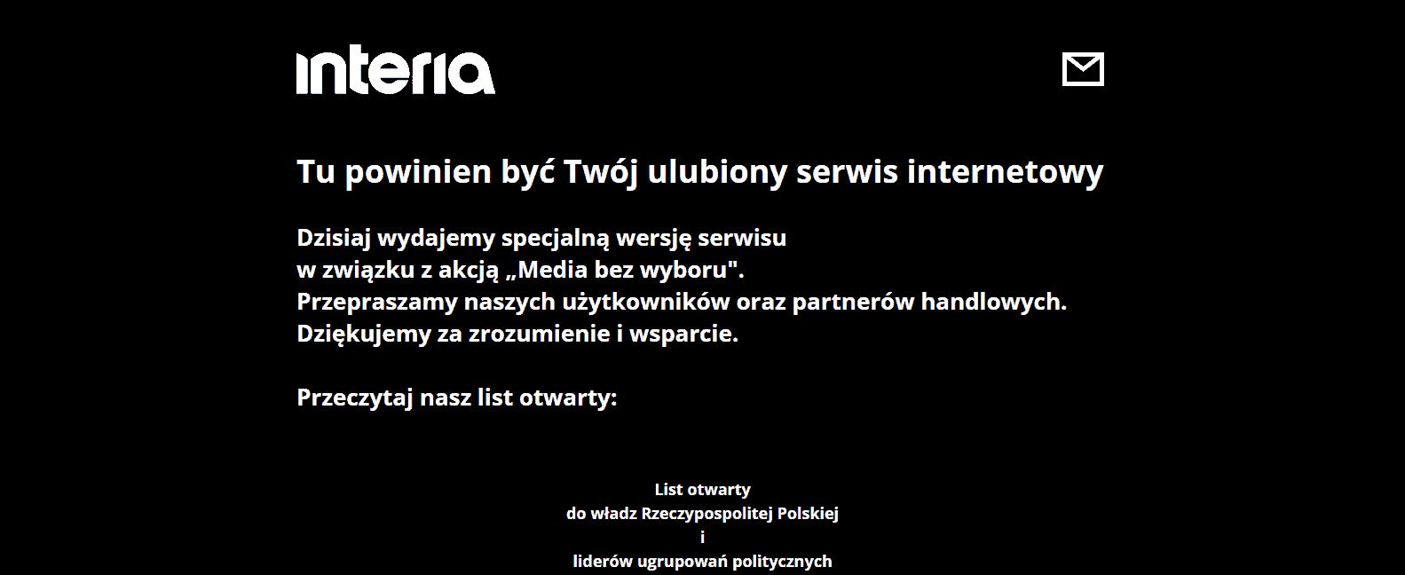 Zrzut ekranu interia.pl - protest mediów
