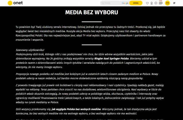 Zrzut ekranu onet.pl - protest mediów