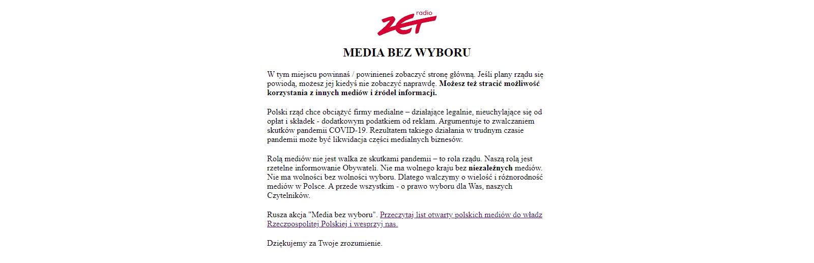 Zrzut ekranu radiozet.pl - protest mediów