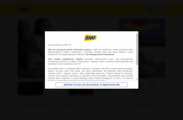 Zrzut ekranu rmf.fm - protest mediów